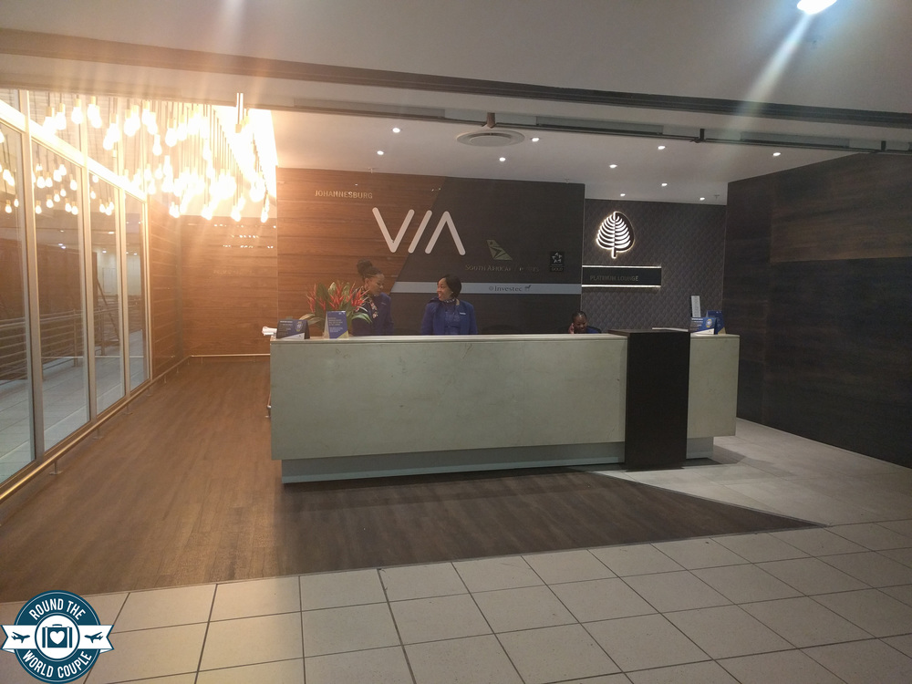 South African Airlines Premium Lounge at OR Tambo Entrance