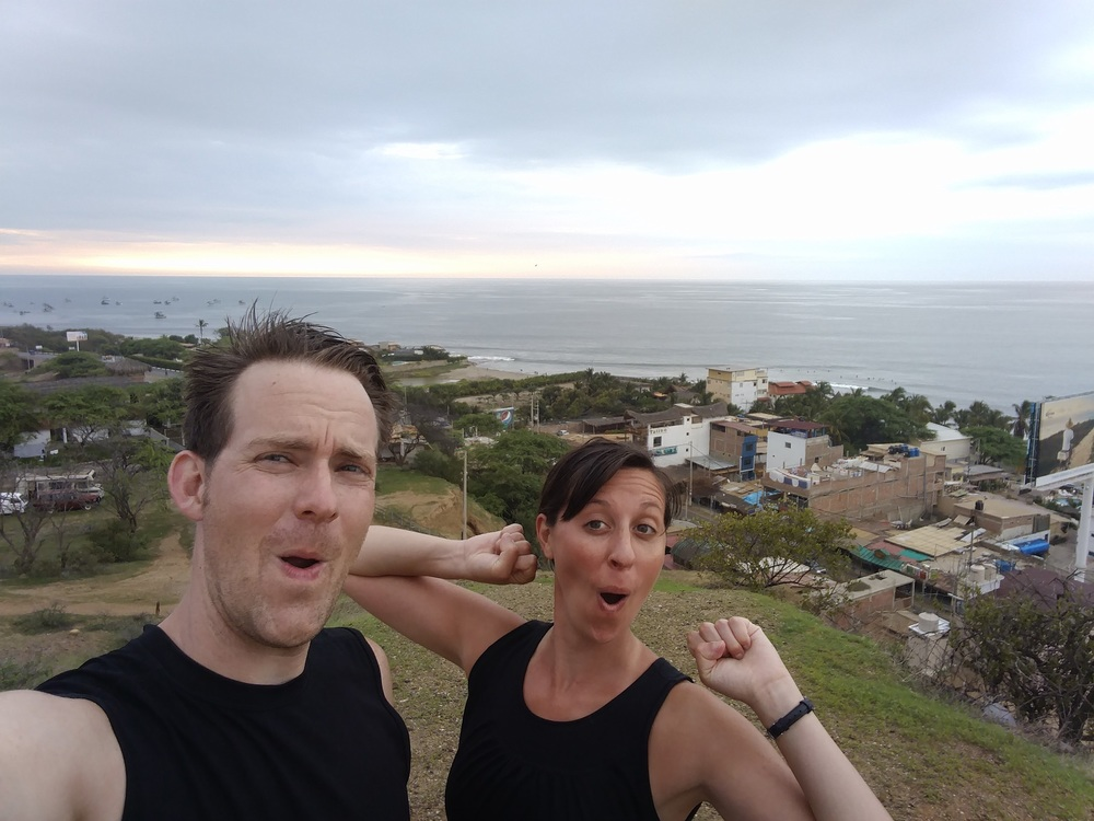 We'd climbed a hill in Mancora, Peru.  WHAT ARE THESE FACES?
