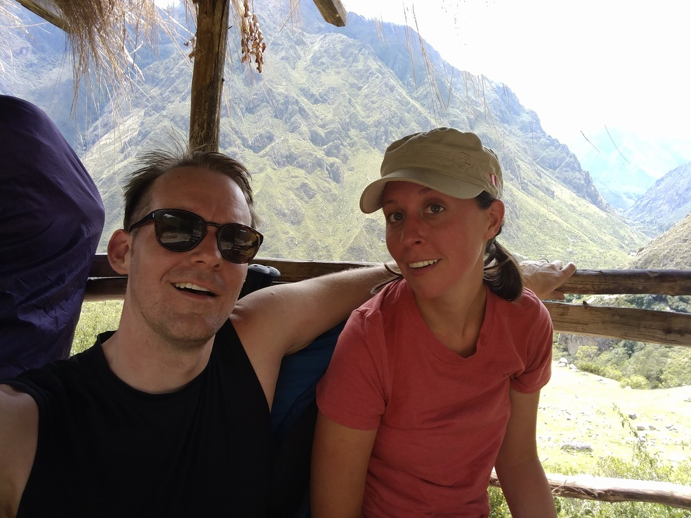 My face is beet red because the Inca Trail is freaking HARD and I had just cried about it.