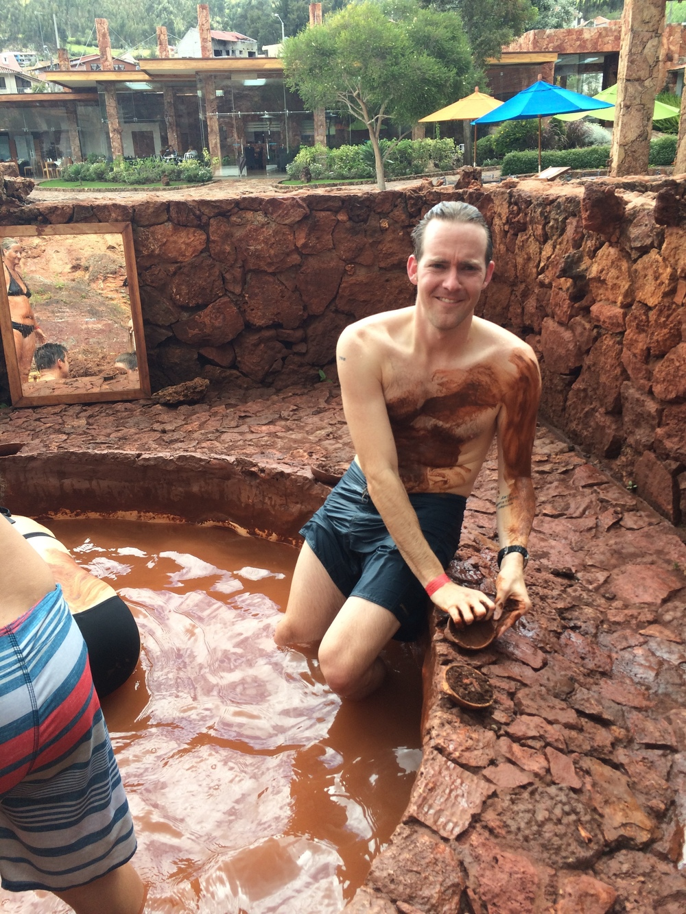 Despite his face, this mud spa was actually not painful.