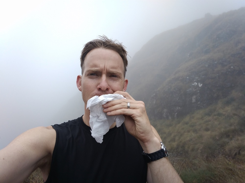Thank GOD Nate thought to take this important selfie of him eating a sandwich.