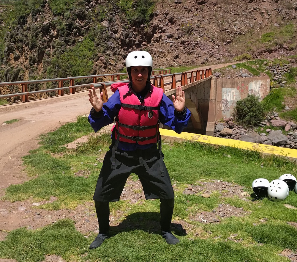 All dolled up in rafting gear and feelin' like a SUMO wrestler.