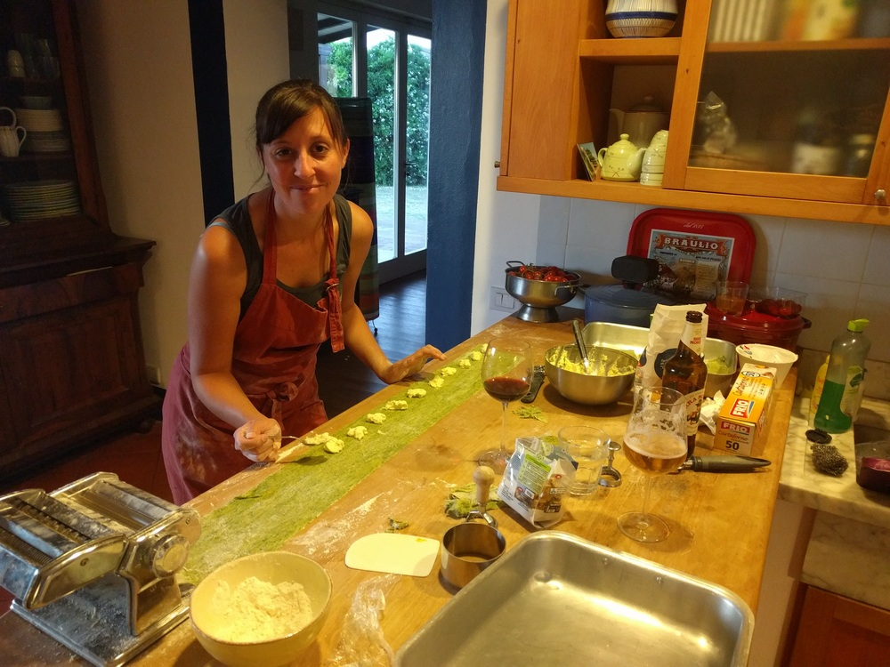 Making spinach ravioli from scratch with our Workaway host in Tuscany.