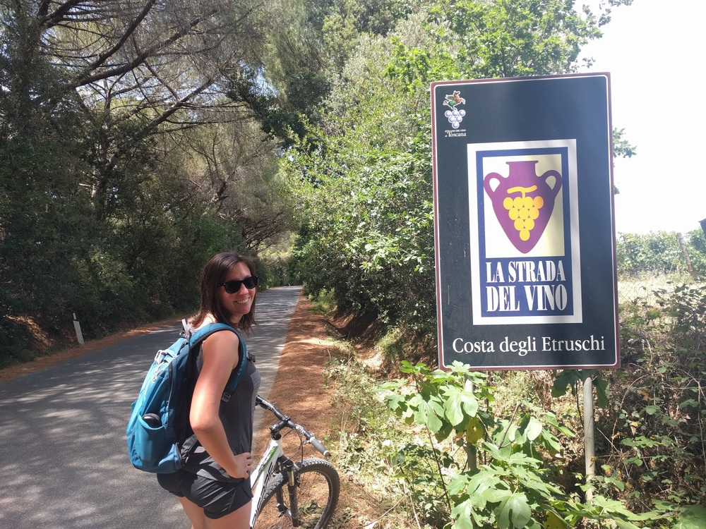 Biking in Tuscany where we stayed for free doing a Workaway.