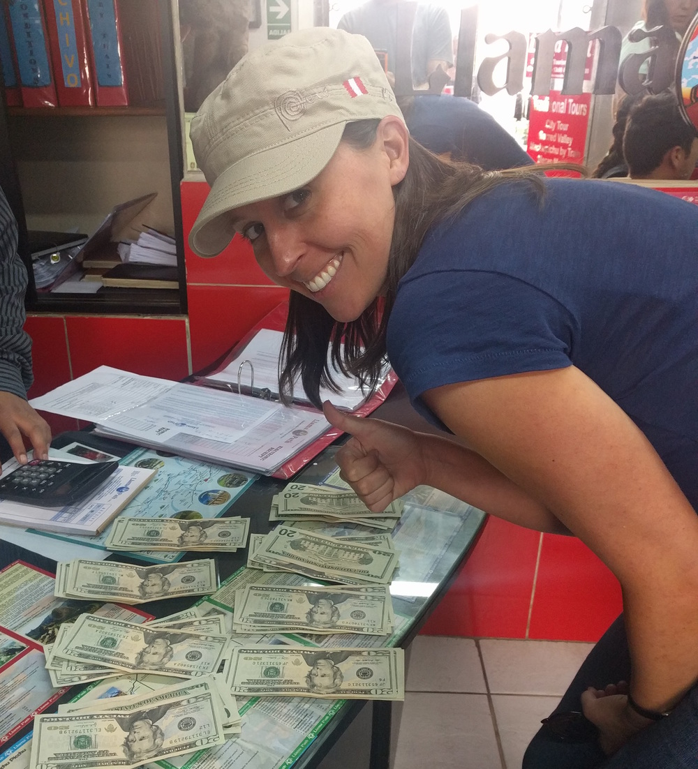 Paying $1,400 in cash for our Inca Trail trek to Machu Picchu.  I was happier after we finished and I realized it was worth the expense.