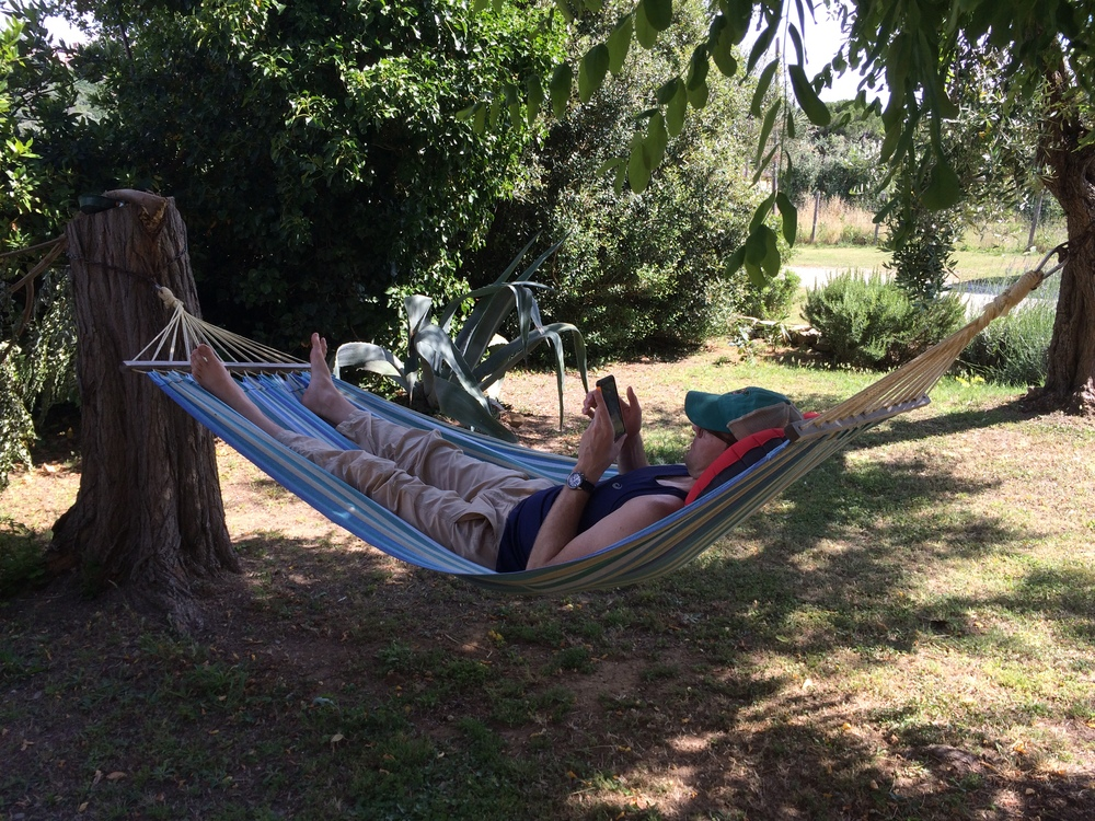 Nate in a hammock in Tuscany.  Relaxed or bored?