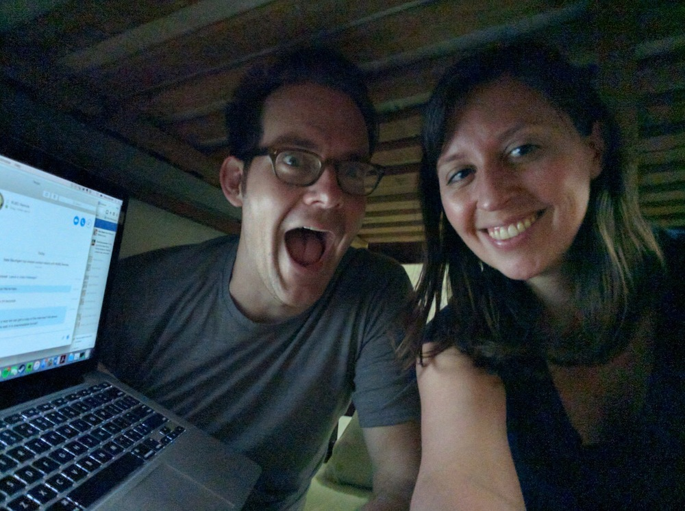 When we Skyped from the bottom bunk of our hostel in Colombia because the wifi never worked anywhere else.