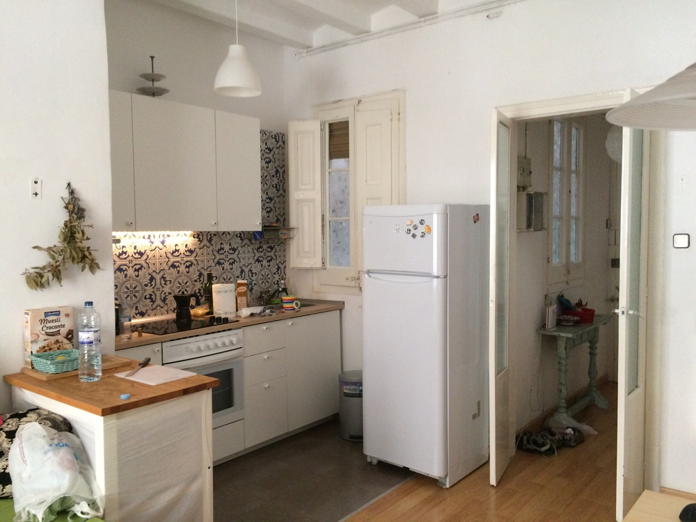 The kitchen in our rented Airbnb apartment in Barcelona.