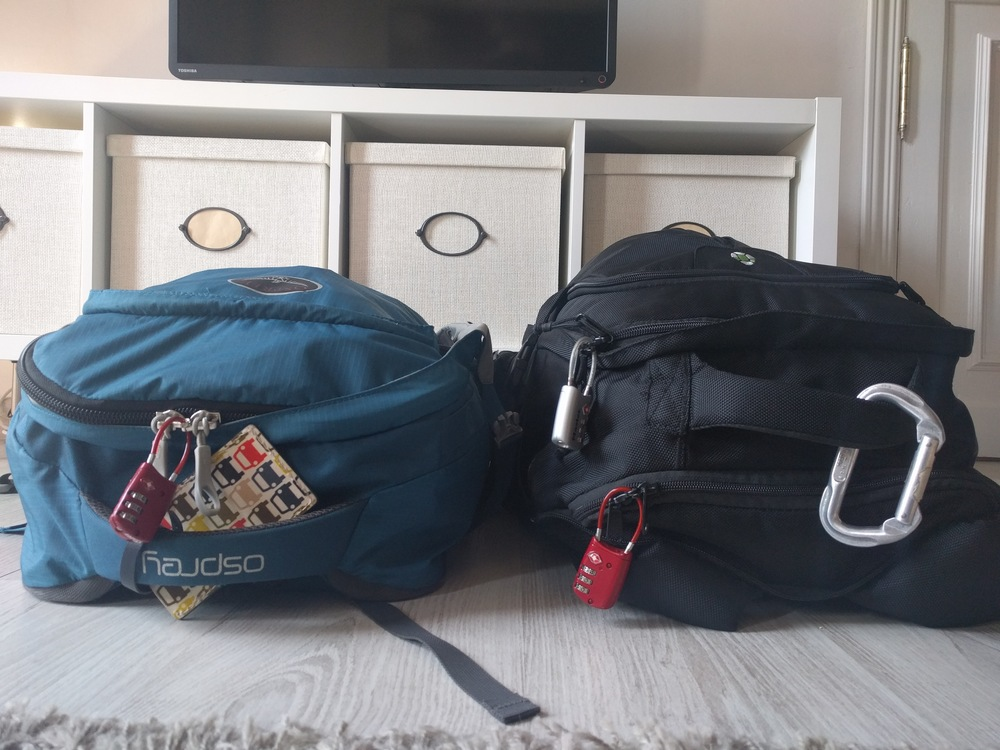 The Farpoint 55 on the left has 40L of capacity without its daypack vs the Tortuga Travel Backpack's 44L. You can see above that much of that space comes from the Tortuga's expandable front pocket. The Tortuga is also a bit wider and more boxy.