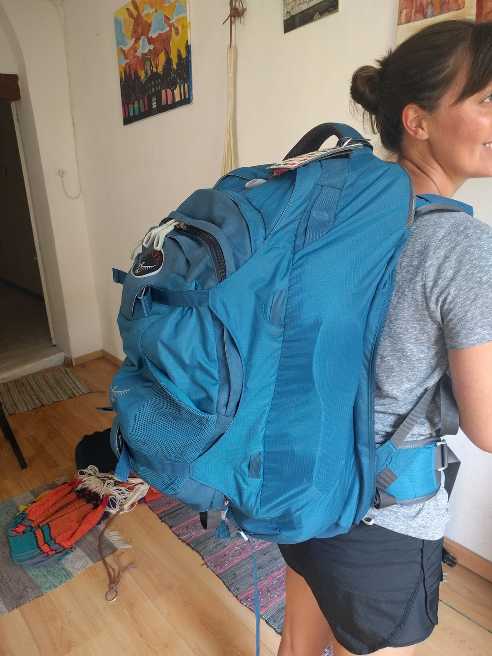 You can see here that a fully packed and attached daypack extends out from Jess' back a decent distance. There's a reason that most hiking backpacks have a tower shape, preferring to go up instead of out. By piling the weight up you make it easier to put the weight on the waist belt and reduce strain on the lower back.