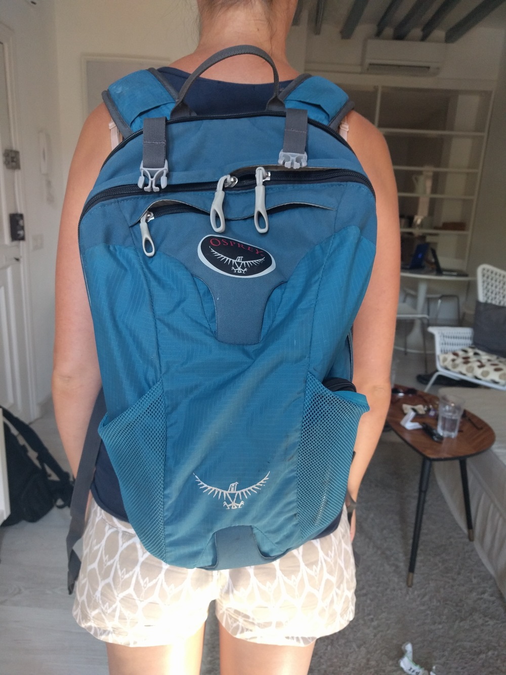 Jess wearing a loaded Farpoint daypack.
