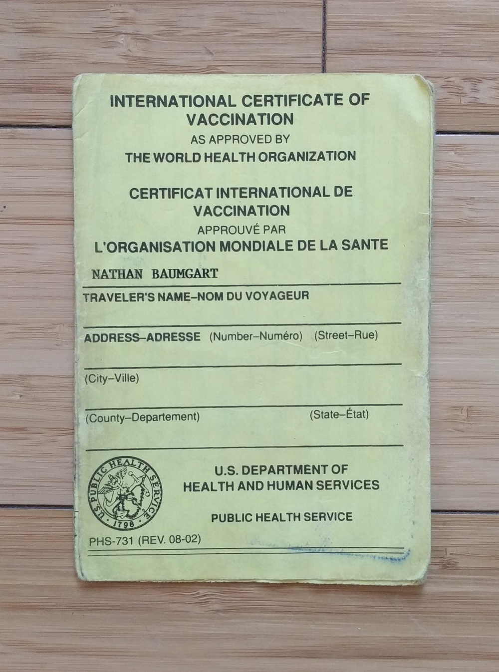 World Health Organization Card