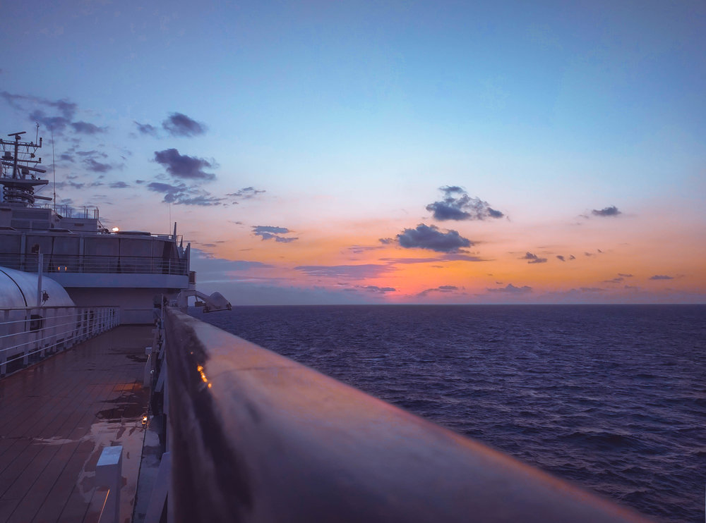 Sunset from midship