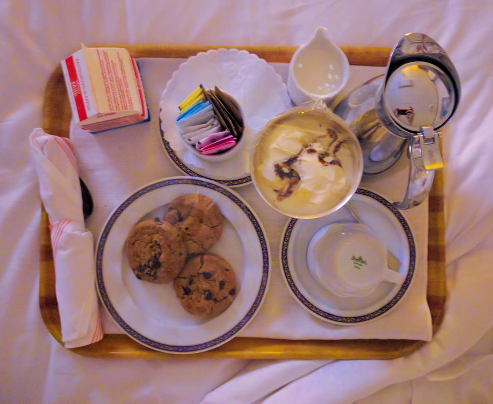 Late-night cookies and ice cream from room service.