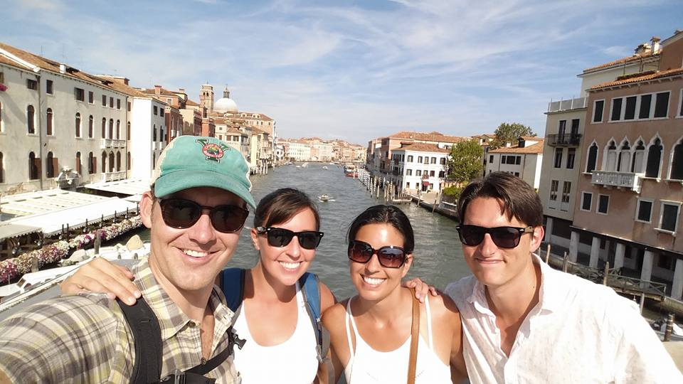 With our (young!) cruise friends Rebeka and Anthony in Venice.