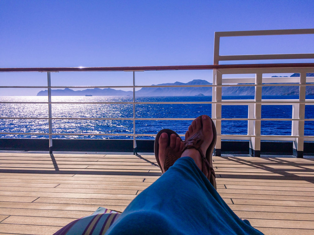 Relaxing on the ship's promenade.