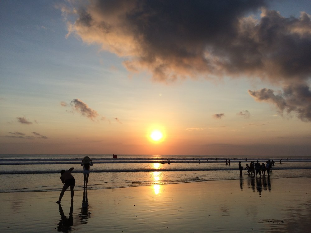Sunset on Kuta Beach, south Bali.
