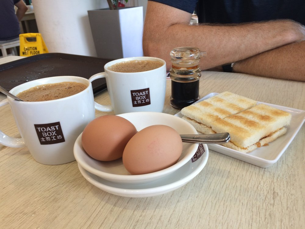 Kaya Toast with Soft Boiled Eggs from Toast Box