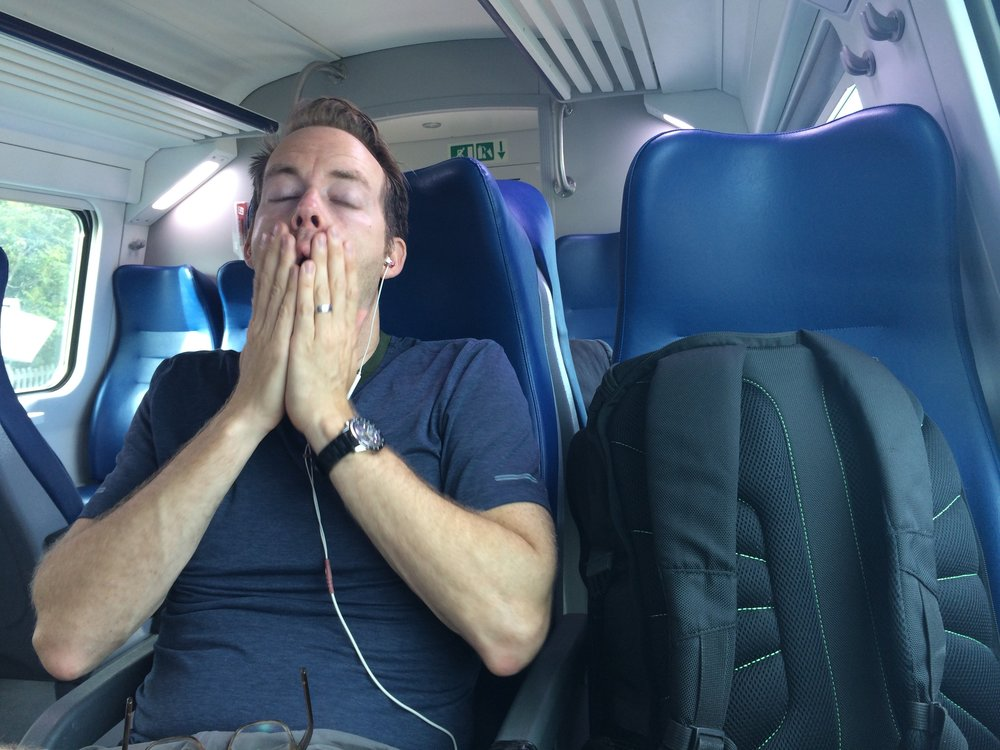 On a very romantic train ride through Tuscany.  We are definitely not both desperate for some alone time. (Italy)