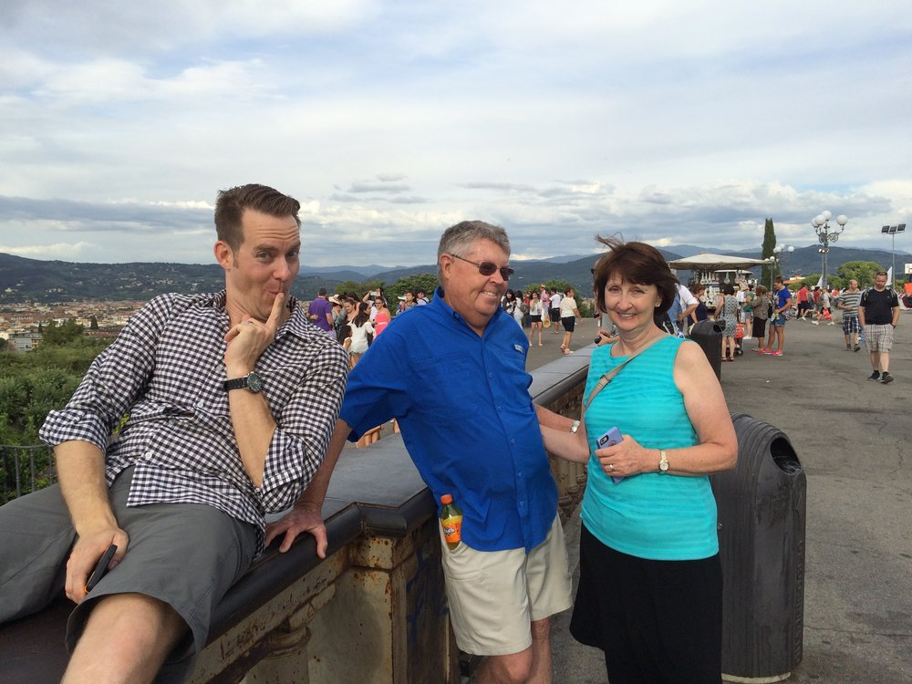 My favorite photo of my parents during their visit to Italy.  I shudder to think of what naughty secret Nate is thinking of... (Florence, Italy)