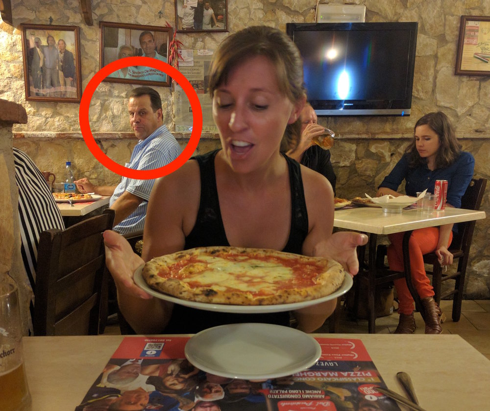 I see you creepin' on my pizza, brah. (Naples, Italy)