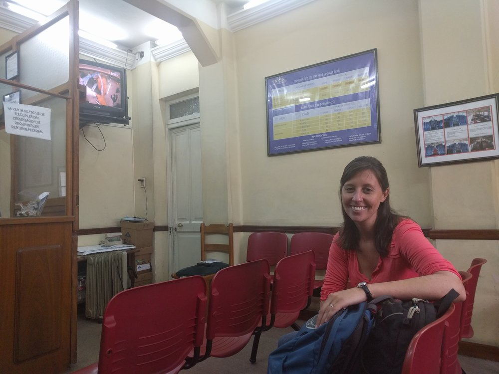 Sitting in the train ticket office in La Paz.