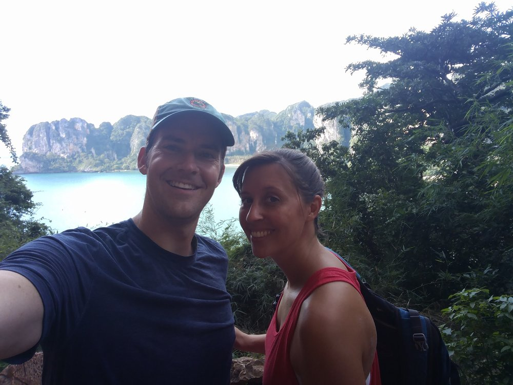 Hiking in Railay Beach, Thailand.