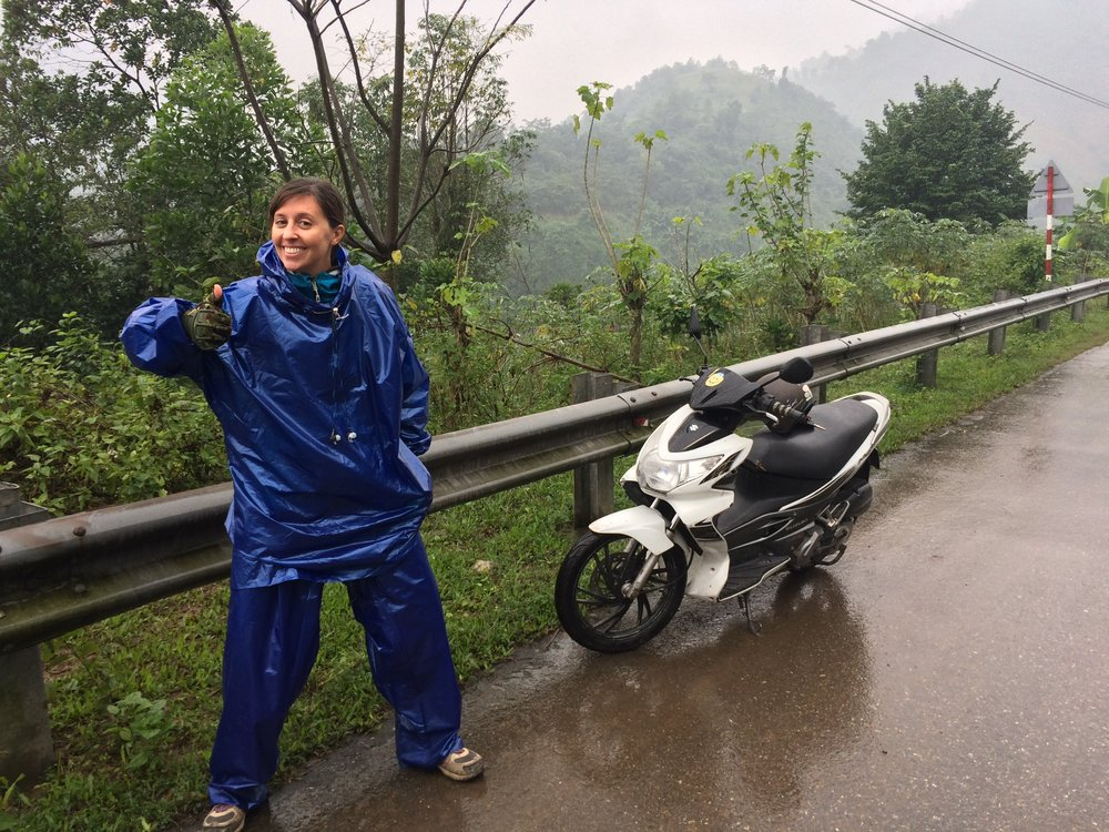 Rainy motorbiking in Vietnam