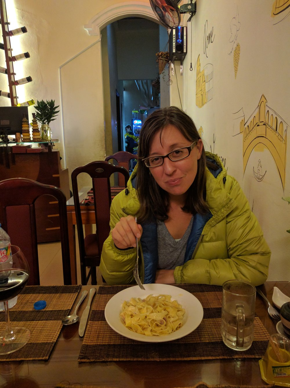 Comfort carbs after the leech episode. Best carbonara we've had in Asia and just two doors down from the hotel where Hung put us up.