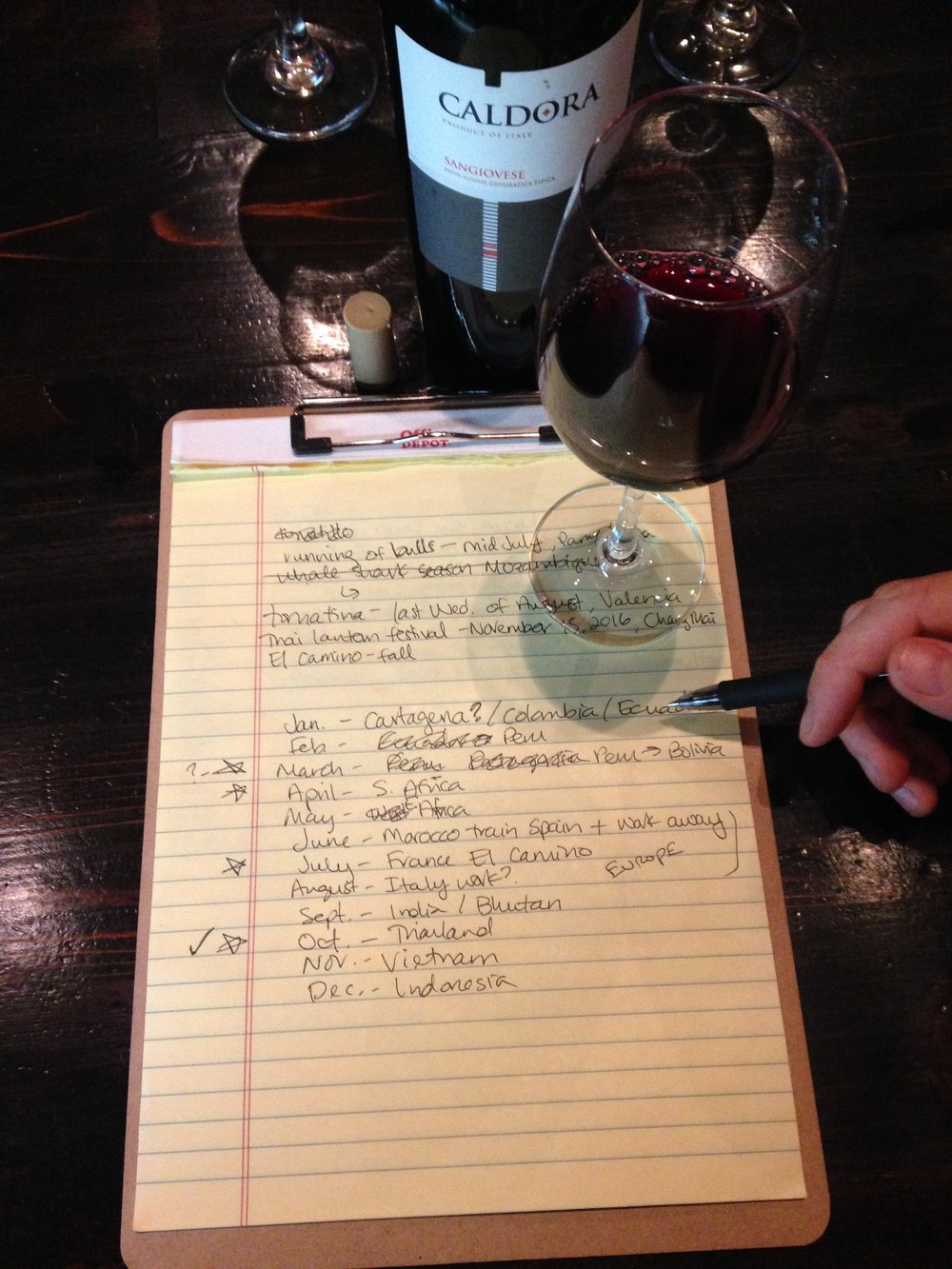 Trip planning at the wine bar near our apartment in Chicago.