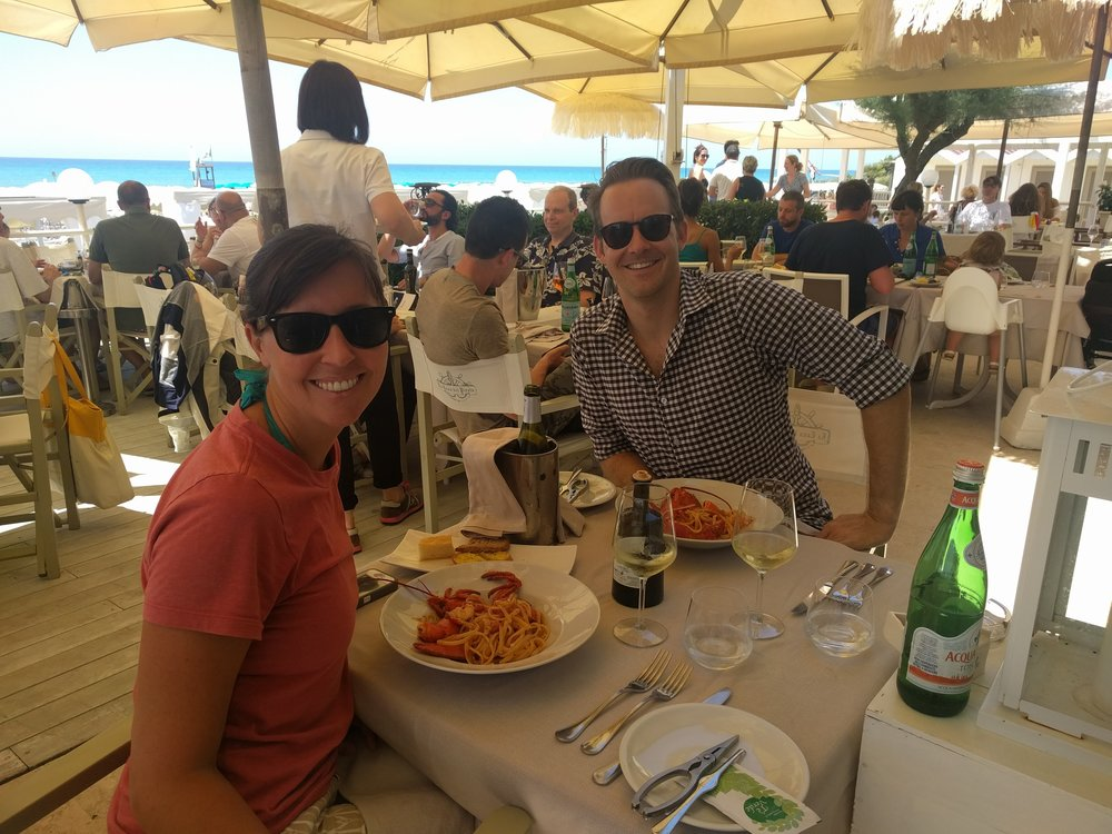 Lobster and fresh pasta at the beach in Italy.  YUM.