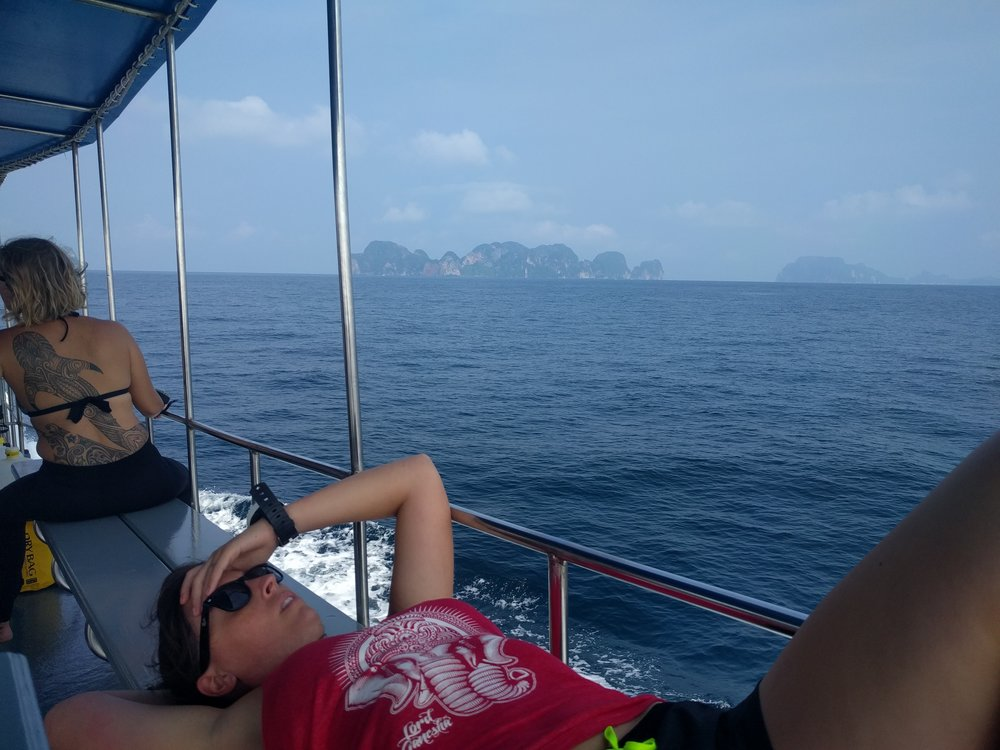 Enjoying that beautiful view and some sea sickness. (Ko Phi Phi, Thailand)