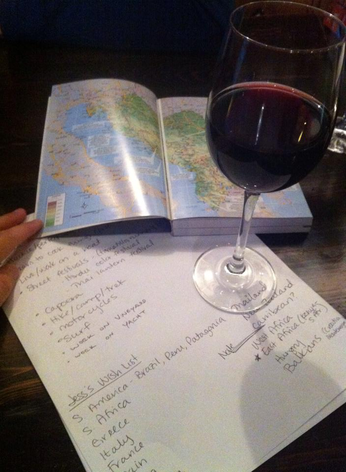 Trip planning at the wine bar near our apartment in Chicago