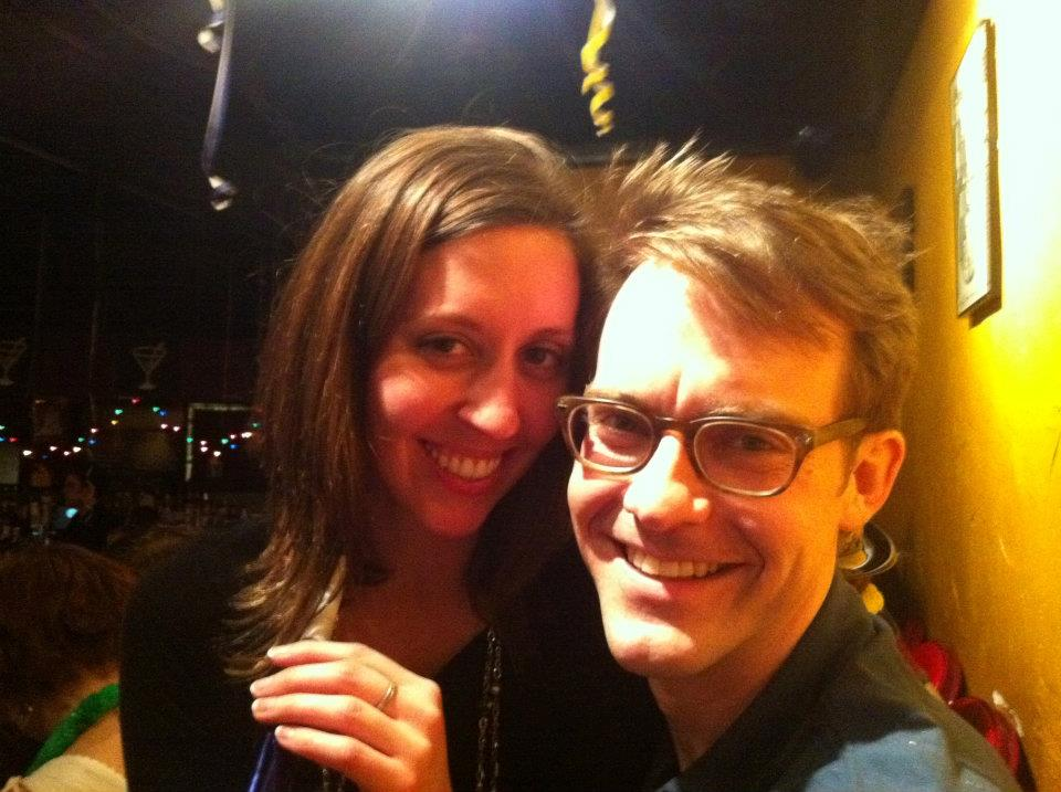 The first photo we ever took together on New Years Eve, 2011, at the iO Theater in Chicago.