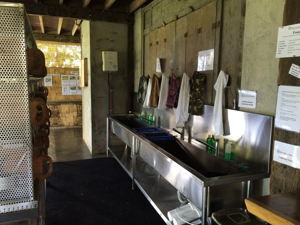 The dish storage and washing station at the Silent Retreat in Bali