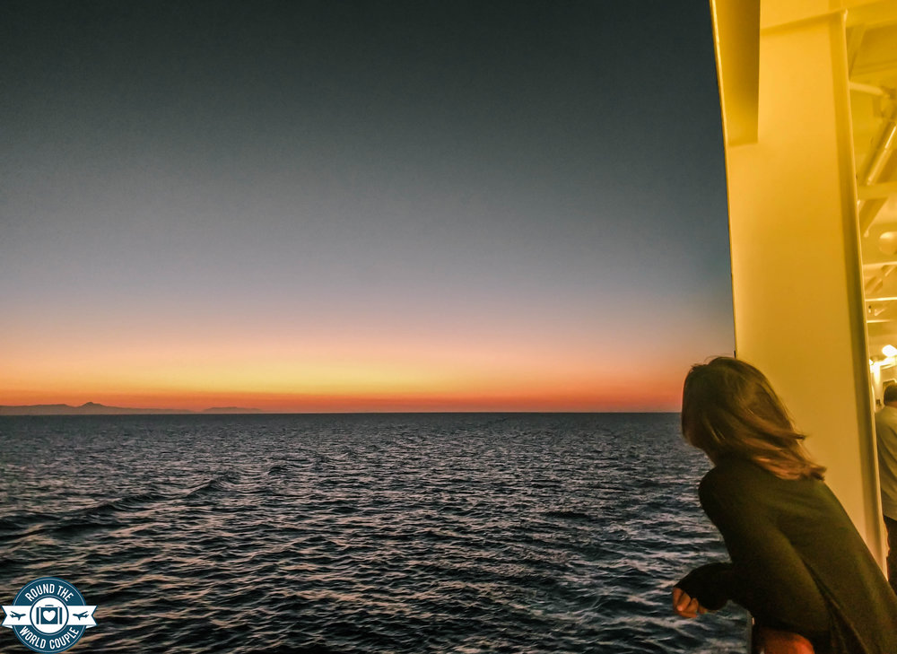 Watching the sunset from our cruise ship in the Mediterranean.
