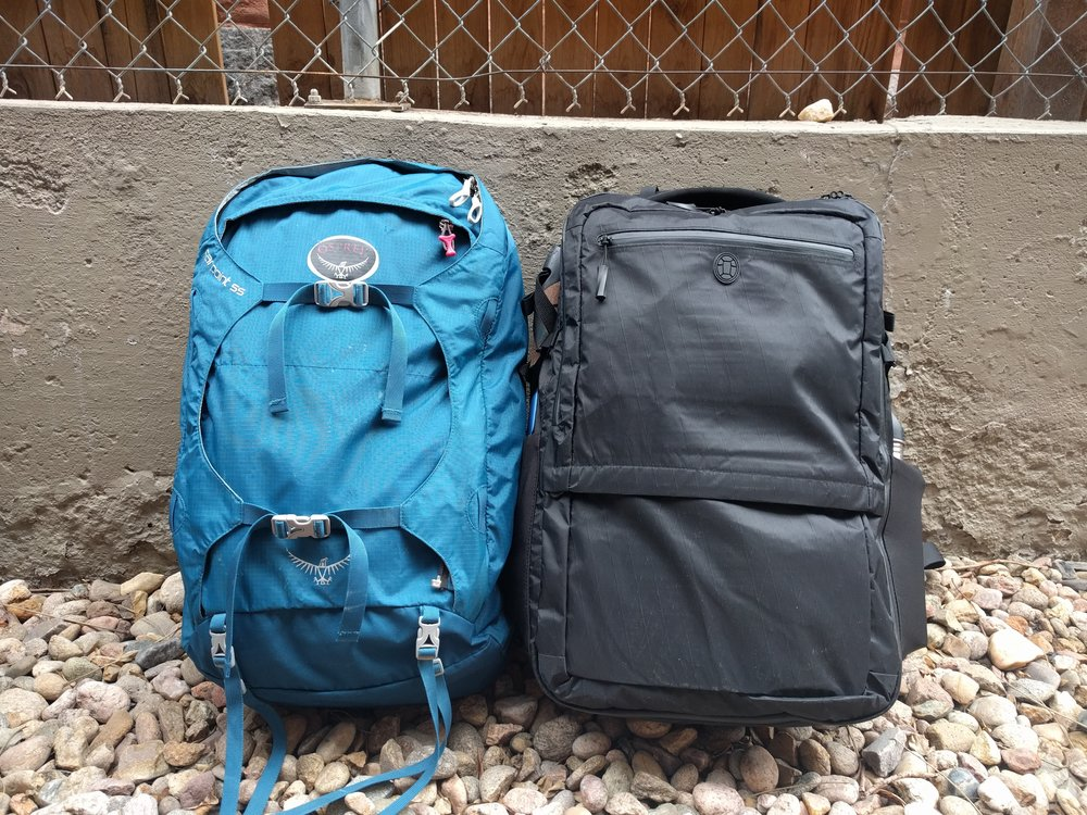 Osprey Farpoint 55 (without daypack attached) and the Tortuga Outbreaker side by side.