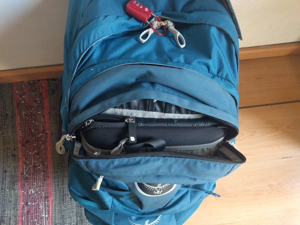 Retention straps on the Osprey Farpoint 55 must be kept tight to keep the daypack secure when attached. The result is a minimal ability to access anything in either bag while the daypack is attached.