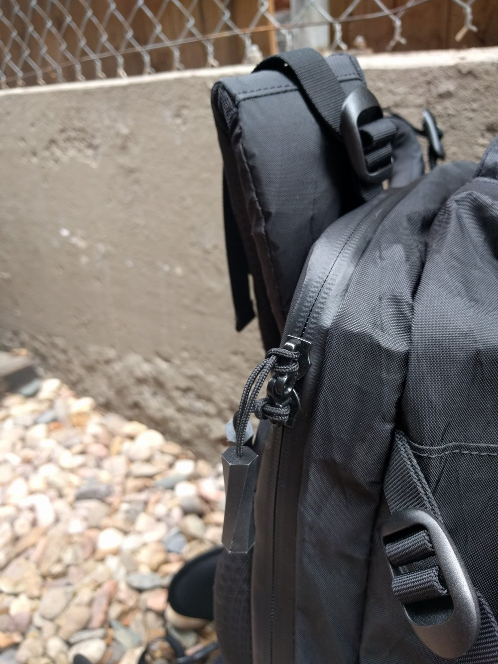The Tortuga Outbreaker's zippers are water proof and look technical, but I question there long term durability being in constant use and being forced to carry the weight of the bag.