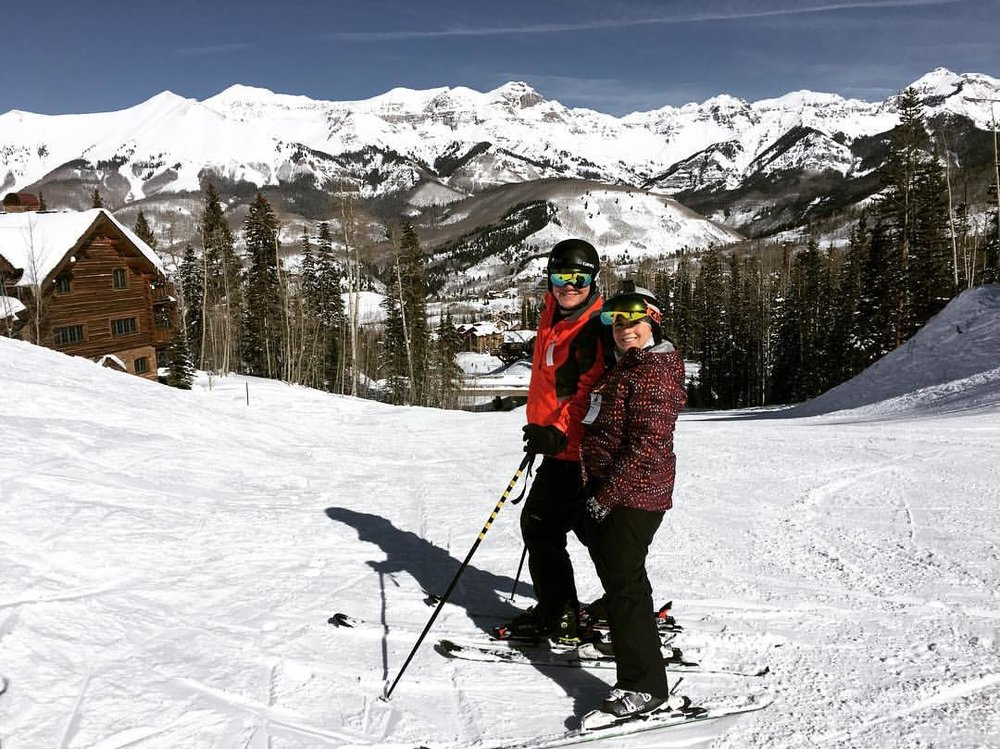 Tracy and Dan skiing together in Telluride, CO.