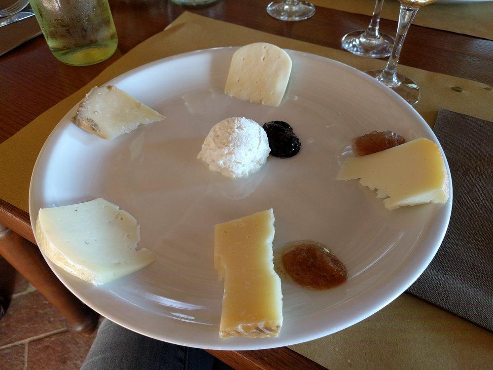 Sampling pecorino (sheep's milk) cheese