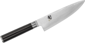 A Chef's Knife, notice the depth of the blade, allowing space for your fingers to sit and allow the rocking motion.