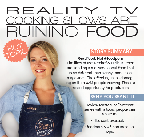 09/08/2017 - Reality TV Cooking Shows Are Ruining Food - The likes of Masterchef & Hell's Kitchen are sending a message about food that is no different than skinny models on magazines. The effect is just as damaging on the 1.42M people viewing. This is a missed opportunity for producers.