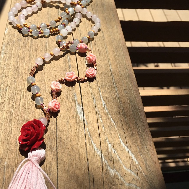 Sacred Compassion #mala. For the soul who needs reminding to accept love and care for themselves. A reminder of the sweetness of the fierce feminine mother. #rosequartz #moonstone #rose#marymagdalene