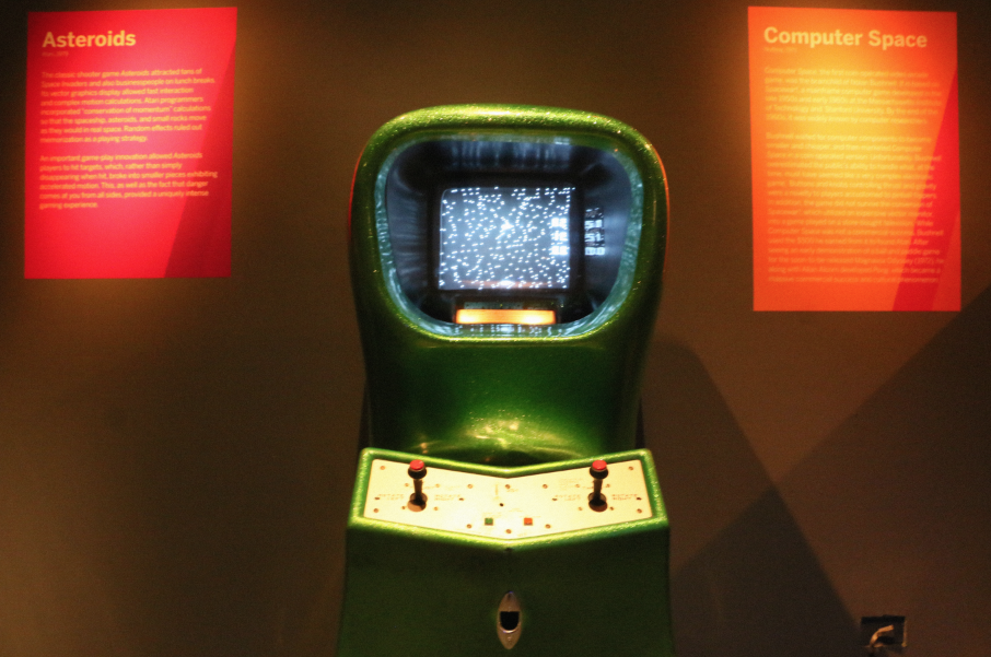 Computer Space   (1971), the first coin-operated video arcade game, created by Nolan Bushnell.
