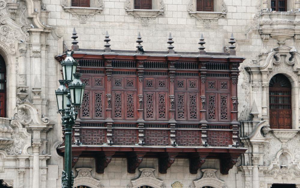 "One of the ""balcones de Lima"" in Plaza Mayor"