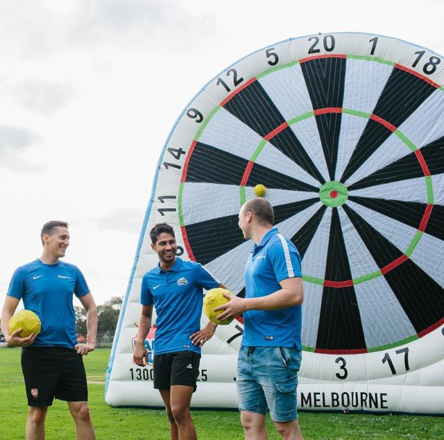 Soccer Darts puts a smile on your face! #soccerdarts #footdarts #footballdarts #footydarts #bubblesoccer #bubblesoccer2u #australianfootball #aussierules #rugbyleague #melbourne #fitness #sport #health #soccer #darts #inflatable #melbournewedding #melbourneevents #melbourneparty #partyhire