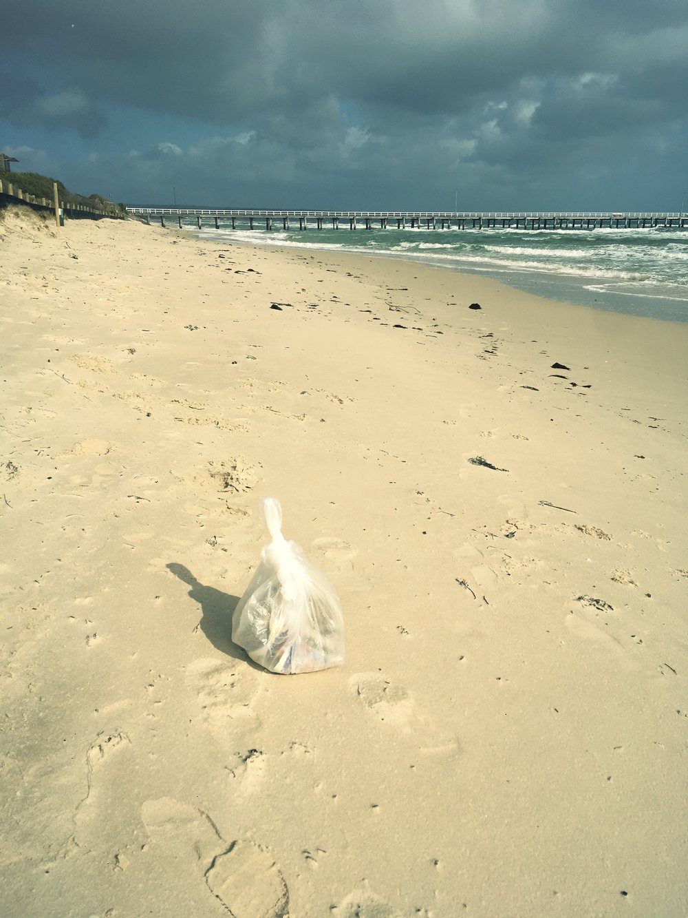 RUBBISH COLLECTED AT SEAFORD BEACH, VICTORIA, AUSTRALIA