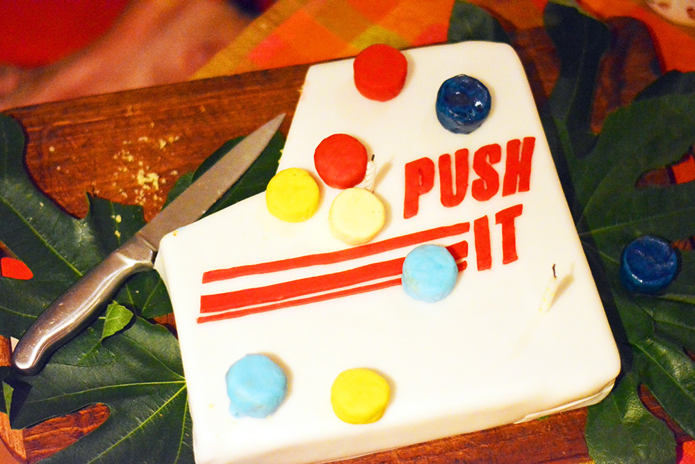 Push It skill game birthday cake