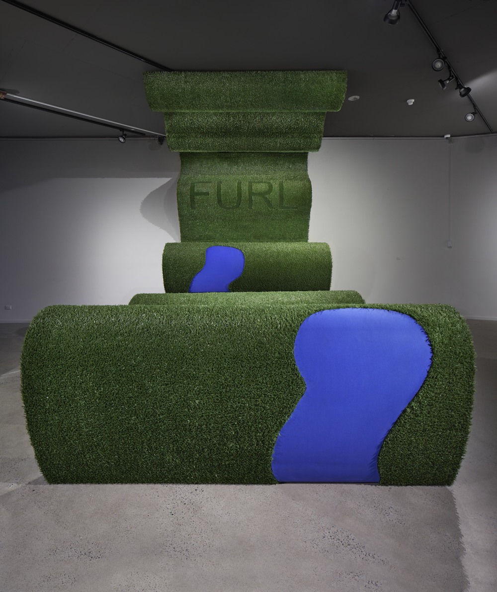 FURLRipple Rap, 2 2014, aluminium, artificial grass, neoprene, 380 x 300 x 500 cm. Photo Sam Scoufos.jpg